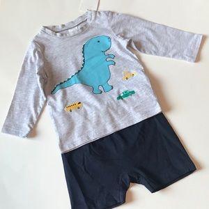 Long sleeves baby T-shirt dinosaur with shorts